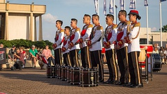The Singapore Armed Forces Band's drumline at the Virginia International Tattoo in 2017.