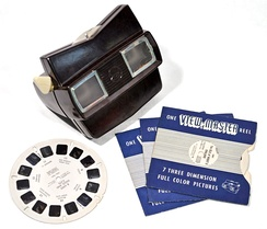 View-Master, a stereoscopic visual simulator, was introduced in 1939