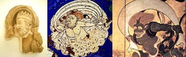 Iconographical evolution of the Wind God. Left: Greek wind god from Hadda, Afghanistan, 2nd century. Middle: wind god from Kizil Caves, Tarim Basin, 7th century. Right: Japanese wind god Fūjin, 17th century.