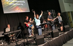 A modern worship band playing a contemporary praise song.
