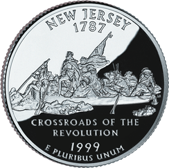 The New Jersey State Quarter, released in 1999, with a depiction of Washington Crossing the Delaware