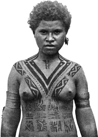 Tattooing among women of the Koita people of Papua New Guinea traditionally began at age five and was added to each year, with the V-shaped tattoo on the chest indicating that she had reached marriageable age. Photo taken in 1912.