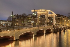 "The Magere Brug or ""Skinny Bridge"" over the Amstel at night"