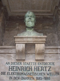 Memorial of Heinrich Hertz on the campus of the Karlsruhe Institute of Technology, which translates as At this site, Heinrich Hertz discovered electromagnetic waves in the years 1885–1889.