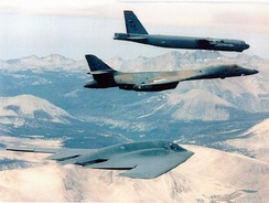 Contemporary U.S. Air Force strategic bombers, top to bottom: the B-52 Stratofortress, B-1 Lancer and B-2 Spirit.