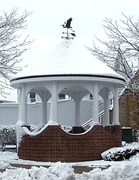 A gazebo during winter, topped with a weather vane