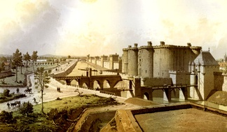 Historical reconstruction showing the moat below the walls of Paris (left), the Bastille and the Porte Saint-Antoine (right) in 1420