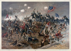 A painting of Lee's Army of Northern Virginia fighting the U.S. Army at Spotsylvania in 1864.