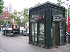 Street elevator serving as an entrance to the 66th Street–Lincoln Center station