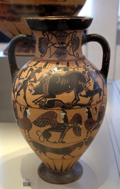 The Calydonia boar hunt is possibly shown in the upper frieze of this Tyrrhenian amphora, which is attributed to the Timiades Painter or the Tyrrhenian Group, 560 BC, from southern Etruria, now in the Berlin Collection of Classical Antiquities, Altes Museum