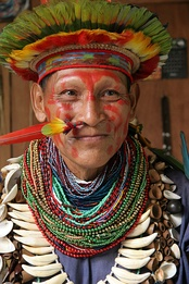 Shaman of the Cofán people from the Ecuadorian Amazon Ecuador Amazonian forest
