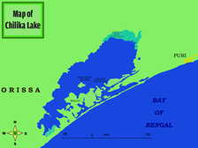 Map of lake Chilka with near-by settlement of Puri.