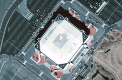 An aerial view of the Meadowlands Arena (under its Continental Airlines Arena signature)