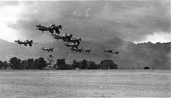 Formation of Curtiss A-12 Shrikes during exercises near Wheeler Field, Oahu, Hawaii.