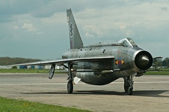 Lightning F.6 XS904 after a high-speed taxi run at 2012 Cold War Jets Day, Bruntingthorpe