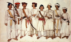 Gurkha soldiers during the Anglo-Nepalese War, 1815.