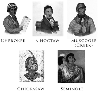"Gallery of the Five Civilized Tribes: Sequoyah (Cherokee), Pushmataha (Choctaw), Selecta (Muscogee/Creek), a ""Characteristic Chickasaw Head"", and Osceola (Seminole). The portraits were drawn or painted between 1775 and 1850."