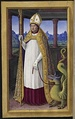 Saint Lifard with a dragon  in the  Grandes Heures of Anne of Brittany by Jean Bourdichon