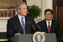 President Bush announcing his nomination of Alberto Gonzales as the next U.S. Attorney General, November 10, 2004