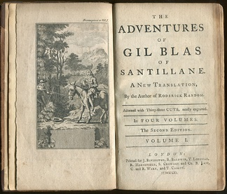 Frontispiece and title page of a 1761 English translation of The Adventures of Gil Blas