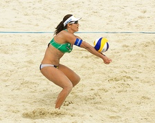 Brazil's Maria Antonelli making a forearm pass, also known as a bump