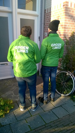 Members of a Dutch political party conducting a cold calling visit in Groningen