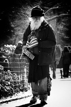 Homeless man declaring himself to be a military veteran in New York, United States