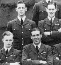 "Hugh ""Lofty"" Long (centre) with pilot officer Cheshire (second row, right) in group photo of 102 Squadron, 1940"