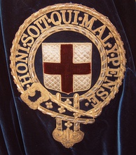 Symbol of the Order of the Garter embroidered onto the left shoulder of the blue velvet mantle of a Knight
