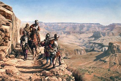 Spanish Conquistadors exploring the Grand Canyon in the 16th Century, nowadays Arizona (United States). Illustration of the Spanish painter Augusto Ferrer-Dalmau