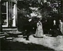 Roundhay Garden Scene, which is just over two seconds long and was made in 1888, is believed to be the world's earliest surviving motion-picture film. The elderly lady in black is Sarah Whitley, the mother-in-law of filmmaker Louis Le Prince; she died ten days after this scene was filmed.