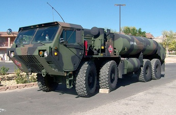 HEMTT M978A2 9,500-liter (2,500 U.S. gal) capacity fuel tanker with standard unarmored cab