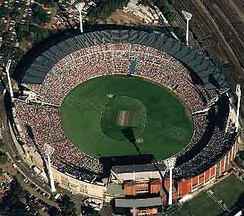 An aerial view of the Melbourne Cricket Ground during the 1992 Cricket World Cup final packed with 90,000 people.