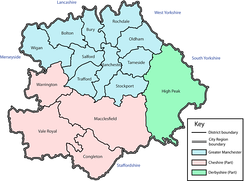 A map of the Manchester City Region as it was defined in 2004 .