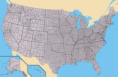 The states of the United States as divided into counties (or, in Louisiana and Alaska, parishes and boroughs, respectively). Alaska and Hawaii are not to scale and the Aleutian and uninhabited Northwestern Hawaiian Islands have been omitted.