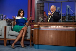 Letterman interviewing Michelle Obama in 2012