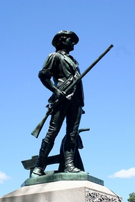 The Patriots were named after the colonists who rebelled against British control during the Revolutionary War (Image: Minute Man statue in Concord, Massachusetts)