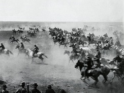 Photograph of the land rush by William S. Prettyman who participated in it and served as a mayor of Blackwell
