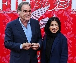 Oliver Stone and his wife in Tehran. 2018 Fajr International Film Festival