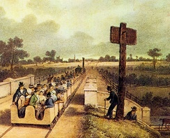 Painting depicting the opening of the Liverpool and Manchester Railway in 1830, the first inter-city railway in the world and which spawned Railway Mania due to its success.