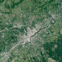 Sentinel-2 true-color image of Philadelphia and the Delaware River