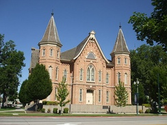 The Provo Tabernacle prior to destruction by fire in 2010. It was later renovated into Provo City Center Temple.