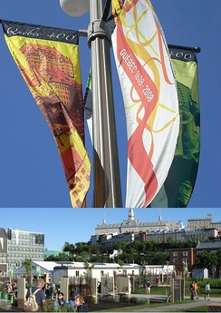Top: Banners representing the city's 400th anniversary. Bottom: Espace 400e, main location of celebrations.