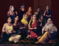 Galaxy of Musicians by Raja Ravi Varma depicting women in various styles of sari