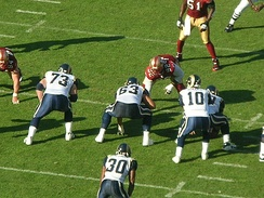 The St. Louis Rams on offense during an away game against the San Francisco 49ers