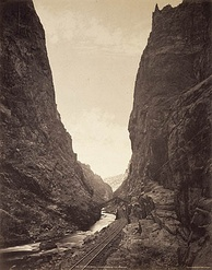 D&RGW through Royal Gorge in 1881