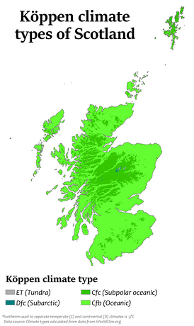 Köppen climate types in Scotland