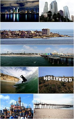 Southern California Images top from bottom, left to right: San Diego Skyline, Downtown Los Angeles, Village of La Jolla, Santa Monica Pier, Surfer at Black's Beach, Hollywood Sign, Disneyland, Hermosa Beach Pier