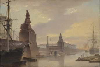 Maksim Vorobyov, Egyptian sphinxes lining Academy Quay (1835)