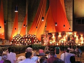 Ecumenical worship service at the monastery of Taizé.